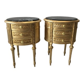 Gilded Marble Top Side Tables - A Pair