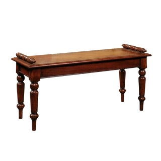 English 1880s Mahogany Hall Bench with Wooden Seat, Turned Arms and Legs