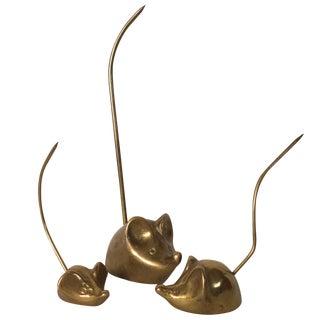 Mid-Century Brass Mice - Set of 3