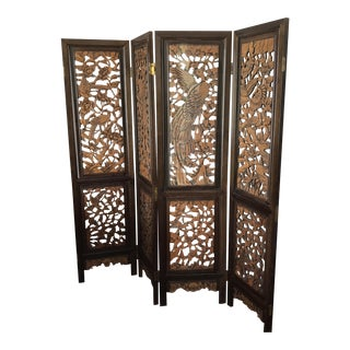 Vintage Ornate Hand Carved Asian Room Screen