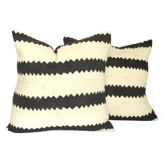 Mud Cloth Black and White Pillows - A Pair