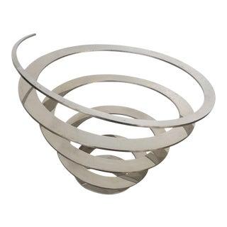 Danish Modern Steel Swirl Fruit Bowl / Centerpiece