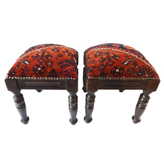 Tribal Qashqa'i Fragment Stools - A Pair