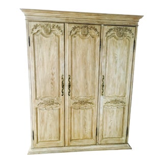 French Country Oak Armoire Cabinet