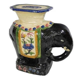 Vintage Black Ceramic Elephant Table