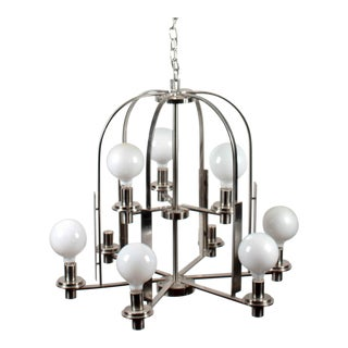 Modern Brushed Metal 9-Lamp Chandelier