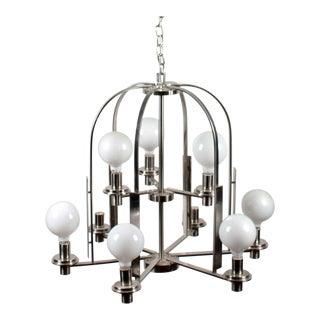 Modern Brushed Metal 9-Lamp Chandelier