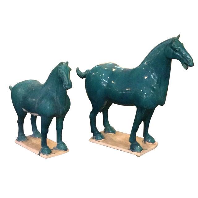 Turquoise Ceramic Horses - A Pair - Image 1 of 5