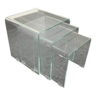 Glass Waterfall Nesting Tables - Set of 3