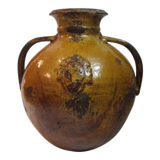 Raku Style Large Ochre & Red Handled Pot