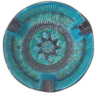 Bitossi Rimini Vintage Turquoise & Black Ashtray
