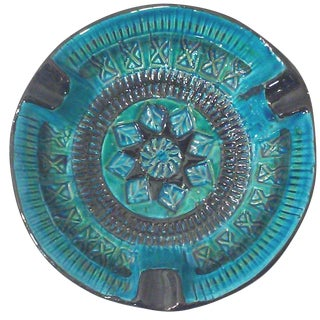Bitossi Rimini Vintage Turquoise & Black Ashtray