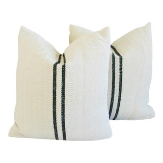 French Homespun Textile Pillows - A Pair
