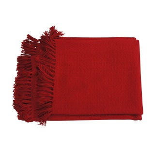 Red Throw Blanket With Fringe