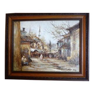 """Street Market"" Original Oil on Canvas"