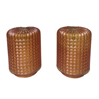 1970's Cross Hatched Glass Lamp Shades - Pair
