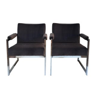 Vintage Modern Chrome & Grey Velvet Chairs - a Pair