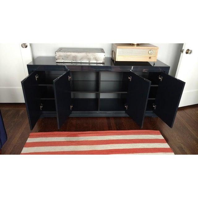 Large Indigo Lacquered Cabinet Credenza - Image 7 of 10