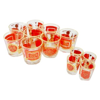 Red & Gold Jeanette Cocktail Glasses - Set of 12