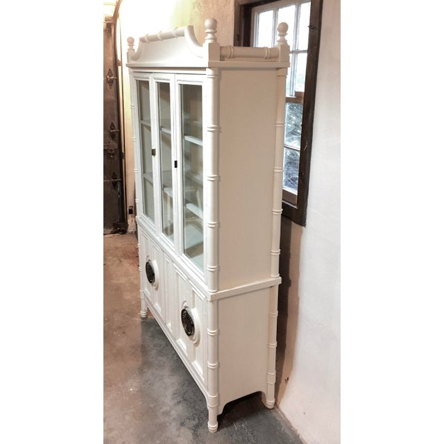 Chinoiserie Faux Bamboo Painted China Cabinet - Image 8 of 10