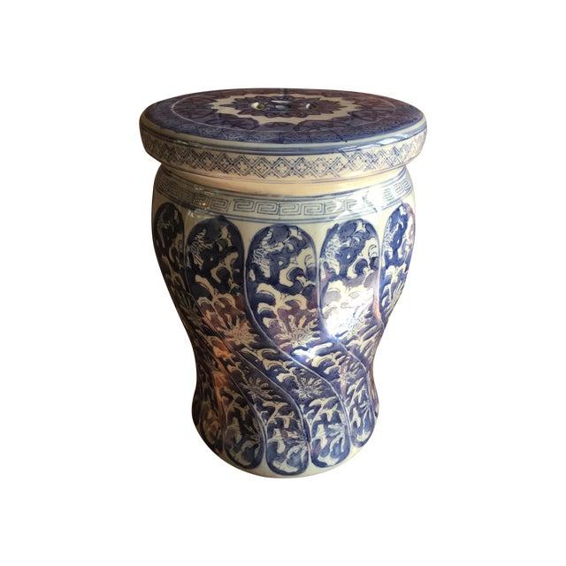 Swirled Blue & White Porcelain Garden Seat - Image 1 of 5