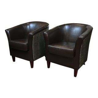 Palecek Leather & Cane Barrel Chairs - A Pair