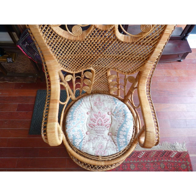 Curly Wicker Throne Chair - Image 3 of 9