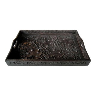 A Well-Carved German Black Forest Rectangular Wooden Tray