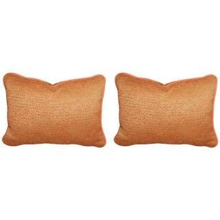 Burnt Tangerine Chenille Outdoor Pillow - Pair