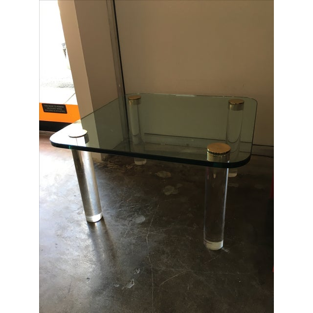 Vintage Pace Glass, Brass and Lucite Small Coffee or Cocktail Table - Image 2 of 10