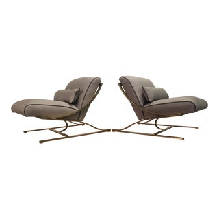 Vintage Cantilevered Metal Lounge Chairs - A Pair