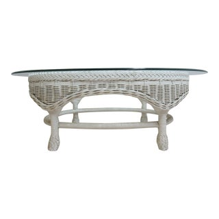 Vintage Quality Custom Wicker Patio Serving Coffee Table