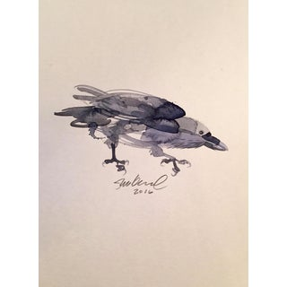 Contemporary Black Crow Watercolor Painting