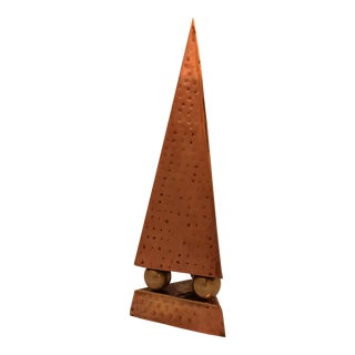 Hammered Copper & Brass Pyramidal Obelisk