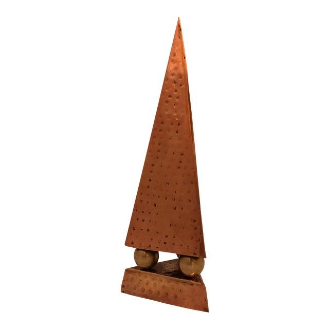 Hammered Copper & Brass Pyramidal Obelisk - Image 1 of 5