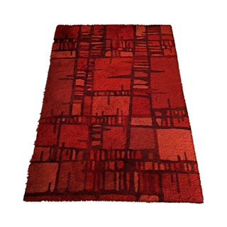 Swedish Mid-Century Red Rya Rug - 4′6″ x 6′8″