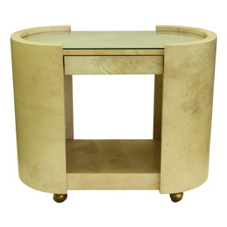 Karl Springer Ivory Lacquered Goatskin Bar Cart