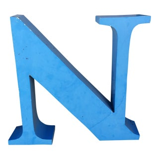 Large Blue Metal 'N' in Times Roman