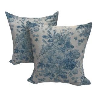 "Ralph Lauren ""Faded Bouquet"" Blue & White Floral Pillows~Pair"