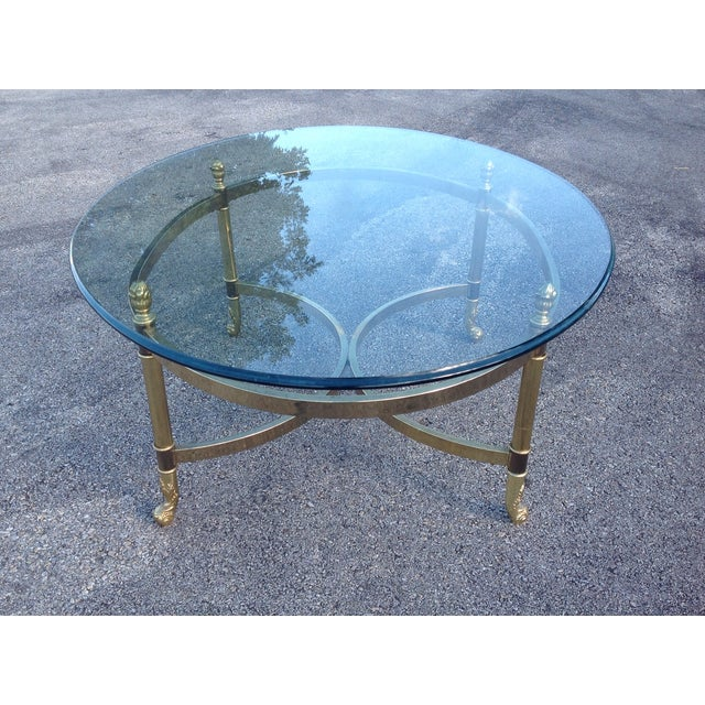 Lebarge Brass Hollywood Regency Coffee Table - Image 2 of 5
