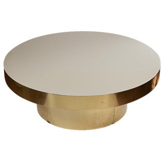 Pace Collection Lucite & Brass Coffee Table