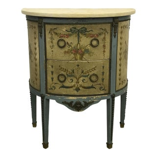 French Painted Demi-Lune Commode