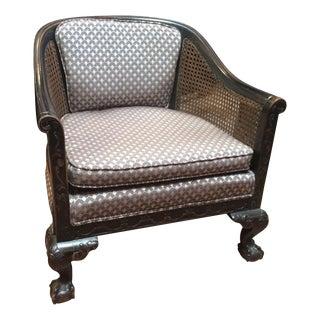 Vintage Barrel Caned Back Armchair