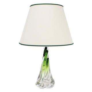 Val Saint Lambert Twisted Green Lamp