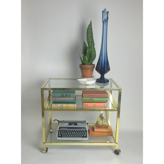 Vintage Brass & Glass End Cart Table - Image 8 of 11