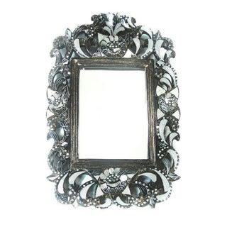 Floral Rectangular Hand-Cut Glass Mirror