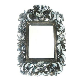 Floral Rectangular Hand-Cut Glass Mirror