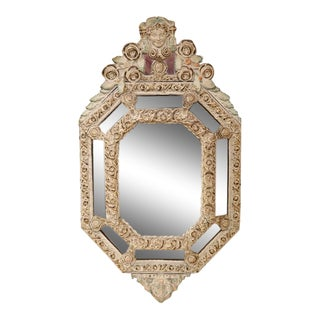 19th Century French Hand-Painted Octagonal Repousse Tole Parcloses Mirror