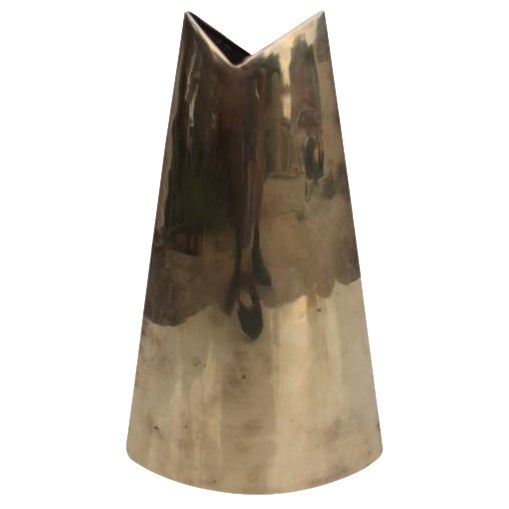 Geometric Brass Vase by J. Johnston - Image 1 of 7