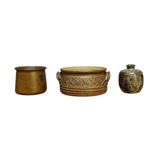 Green & Brown Studio Pottery - Set of 3